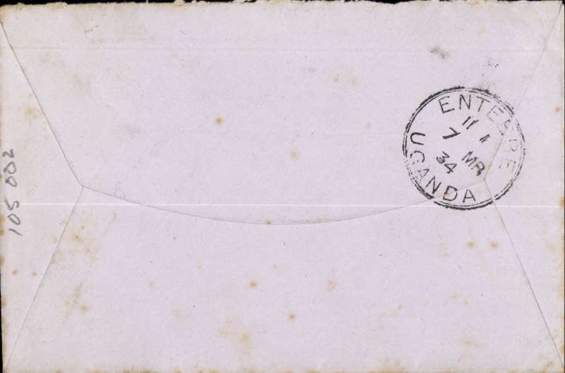 (GB External) F/F London to Entebbe, bs 7/3, carried on IAW Africa service flight AS1, by City of Athens to Alexandria, City of Wellington to Port Bell, plain cover correctly rated 7d, addressed to CAPT. PITMAN. Charles Robert Senhouse Pitman,1890-1975 fought in WWI, in Mesopotamia (where he was awarded the DSO and MC), and in Egypt and France. Appointed Game Warden of the Uganda Protectorate 1924-1951 becoming a noted conservationist and regarded as the WORLD AUTHORITY ON BIG GAME HUNTING (Wikipedia). An historical first flight with significant colonial and social interest. Few faint tone spots