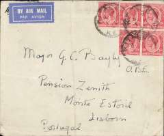 (Scarce and Unusual Routings) 1 March 1934: Kenya to Portugal, KITALE to ESTORIL, Imperial Airways Africa northbound service AN156 which left Kisumu 3 March on Andromeda, arrived Brindisi 8/3 on Sylvanus, then on by rail to Paris bs 10/3 and train to Estoril b/s 13/3.  Plain cover franked 75cts for air rate. Vertical fold.