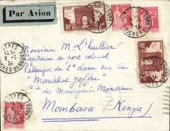 (France) Airmail to ship, PARIS TO MOMBASSA. arrived Marseilles Gare Avion bs 6/3, then train back to Paris, bs Paris Avion bs 7/3 to joined  the Imperial Airways Africa southbound service AS158 which left Croydon 7/3, arriving Brindisi 9/3 on Satyrus, Khartoum 12/3 on Hannibal, arriving Nairobi 13/3 where it was transferred to the WILSON AIRWAYS NAIROBI-MOMBASA-TANGA-ZANZIBAR service arriving 14/3 arrival cds, RATED F5.50 for F1.50 UPU plus F4 air fare. Cover addressed to passenger aboard 'Marechal Joffre' which arrived Mombasa 17/3. Built 1931 for the 'Messageries Maritimes' shipping company. It was manned by Vichy 
