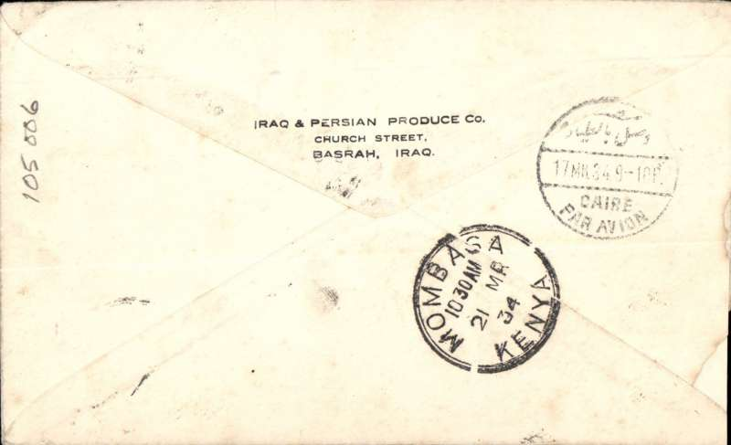 (Scarce and Unusual Routings) Airmail Iraq to Kenya, BASRAH TO MOMBASA, carried on IMPERIAL AIRWAYS WESTBOUND SERVICE IW258  which left Karachi 15 /3 on Aurora, arriving Cairo 17/3 on Hadrian via Baghdad where transferred to Horsa for carriage on the IAW AFRICAN SERVICE AS159  to Nairobi where transferred to WILSON AIRWAYS for carriage to Mombasa, 21/3 arrival ds's front and verso. Airmail etiquette cover, ms 'By Imperial Airways - Iraq/East Africa', franked 50mls. Nice item, 6 day transit via three different services.