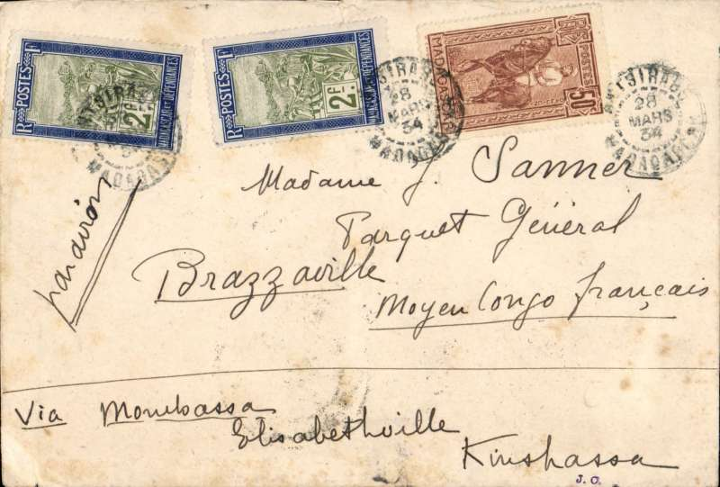 (Scarce and Unusual Routings) Madagascar to French Congo, ANTSIRANA to BRAZZAVILLE. Posted Antsirana 28/3 cds then carried by 90 miles by train to Tananarive bs 28/3, then 380 miles by postal van and river barge to the port of Majunga bs 5/4 cds, then by the Messageries Maritimes paquebot 'General Netzinger' to Dar es Salaam bs 9/4, then by WILSON AIRWAYS to Nairobi where transferred to IMPERIAL AIRWAYS Africa southbound service AS 162 (Hadrian) which left Nairobi 10/4 for Broken Hill bs 12/4 via Dodoma bs 11/4. Then transferred to the AERO CLUB DU KATANGA service to Elizabethville bs 13/4, where offloaded and on by rail/river to Port Franqui, then likely SABENA internal service to Leopoldville bs 25/4, delivered Brazzaville bs 25/4. Plain cover, red/black 'PTT Madagascar Serie E no 131/Par Avion' label graded rare by Mair, ms 'Par Avion' correctly RATED F4.50 for 50c domestic and 4F/5g air surtax. An aerophilatelist's dream - an early airmail carried over land, sea and river, and by air involving three (possibly four) airlines; a scarce and complex itinerary; and  detailed route