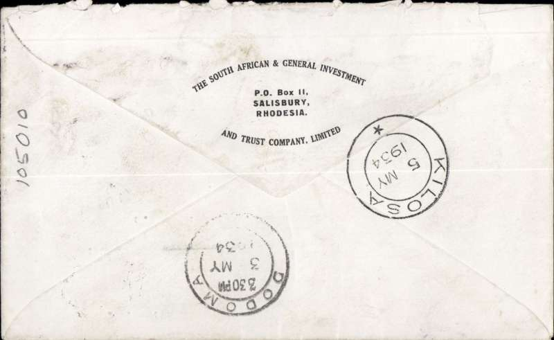 (Scarce and Unusual Routings) S. Rhodesia to Tanganyika, SALISBURY to KILOSA. By Imperial Airways Africa northbound service AN165 which departed Salisbury on Amalthea 2/5, arrived Dodoma backstamped 3/5, and delivered 250 miles to Kilosa backstamped 5/5. South Africa Investment Co cover, etiquette, franked 6d for air rate