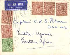 "(Interruptions and Accidents) London To Entebbe, bs 28.5, HP42 HORSA DELAYED ONE DAY AT WADI HAIFA, cover datestamped London, 22 May 1934, carried on Imperial Airways flight AS 169 by Hengist to Brindisi 25/5, by Scipio to Wadi Halfa arriving 61/2 hours late at 17.15 on the 26th (operated from Alexandria by the HP42 Horsa). Due to ""aircraft trouble"" Horsa did not depart until 06.30 on the 27th arriving Entebbe 28/5. Uncommon embossed on flap 'The Field' cover, tied etiquette, franked 8d for 7d rate, 1d excess. See Wingent p59."