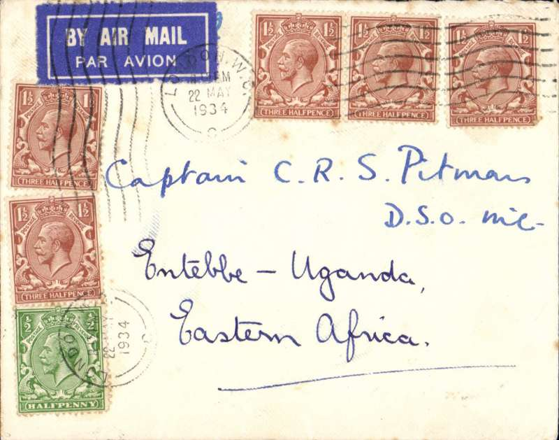 """(Interruptions and Accidents) London To Entebbe, bs 28.5, HP42 HORSA DELAYED ONE DAY AT WADI HAIFA, cover datestamped London, 22 May 1934, carried on Imperial Airways flight AS 169 by Hengist to Brindisi 25/5, by Scipio to Wadi Halfa arriving 61/2 hours late at 17.15 on the 26th (operated from Alexandria by the HP42 Horsa). Due to """"aircraft trouble"""" Horsa did not depart until 06.30 on the 27th arriving Entebbe 28/5. Uncommon embossed on flap 'The Field' cover, tied etiquette, franked 8d for 7d rate, 1d excess. See Wingent p59."""