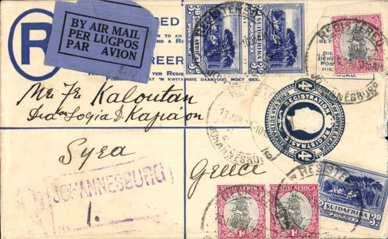 (Scarce and Unusual Routings) Registered airmail South Africa to Greece, JOHANNESBURG to SYRA (an Aegean Island 80 miles from Athens). Carried by Imperial Airways Africa northbound service AN172 which left Joburg 20/6 (Andromeda) and reached Athens bs26/6 (Sylvanus), delivered Syra 28/6 bs. Registered (hs) 4d PSE with additional 1/- stamps, for 4d registration and 1/- air rate.