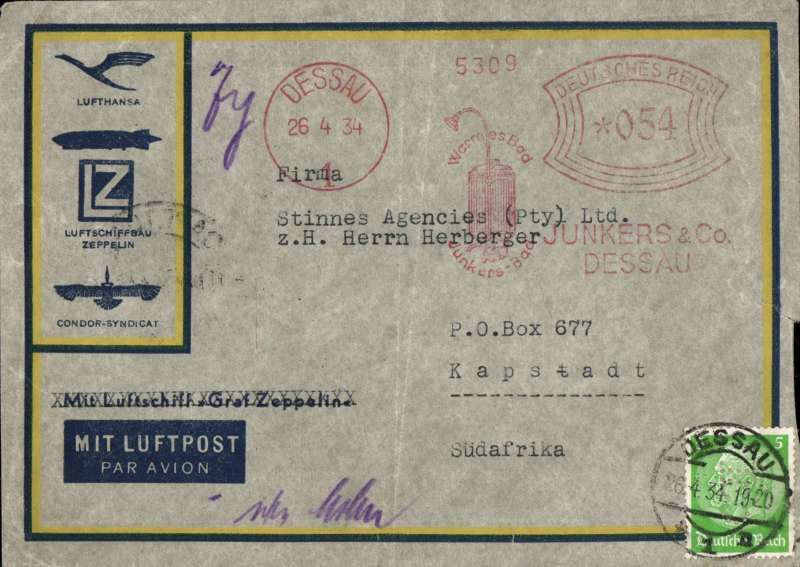 (Scarce and Unusual Routings) Germany to South Africa, DESSAU to CAPE TOWN, by train to Munich bs 27/4, and on by train to Vienna, Bologna and Milan to Brindisi where transferred to Imperial Airways Africa southbound service AS166 which left Brindisi (Satyrus) 4/5 and reached Cape Town (Atlanta) bs 11/5. Uncommon and attractive airmail cover, grey with yellow/blue edging and corner print 'Lufthansa/Luftschiffbau/Condor-Syndicat', unusual RED Dessau & Co METRE cancellation for 55pf on front and an extra 1pf verso, also a 5pf stamp, RATED 55pt for 25pt UPU rate plus 30pt air fee plus 5pf overpaid.
