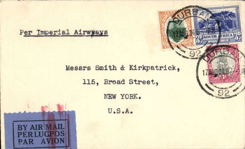 (South Africa) S Africa to USA, DURBAN to NEW YORK, by Union Airways to Johannesburg, departing on 22/8 on Imperial Airways Africa northbound service AN181 and carried, in succession, by Artemis, Hadrian, Scipio, Sylvanus and finally Heracles, arriving London 30/8 where the grey blue/black airmail etiquette was cancelled by a red London double bar Jusqua hs. On by sea , delivered 8/9 private dated receiver. Plain cover, typed 'Per Imperial Airways', RATED 11d. Ex Proud collection.