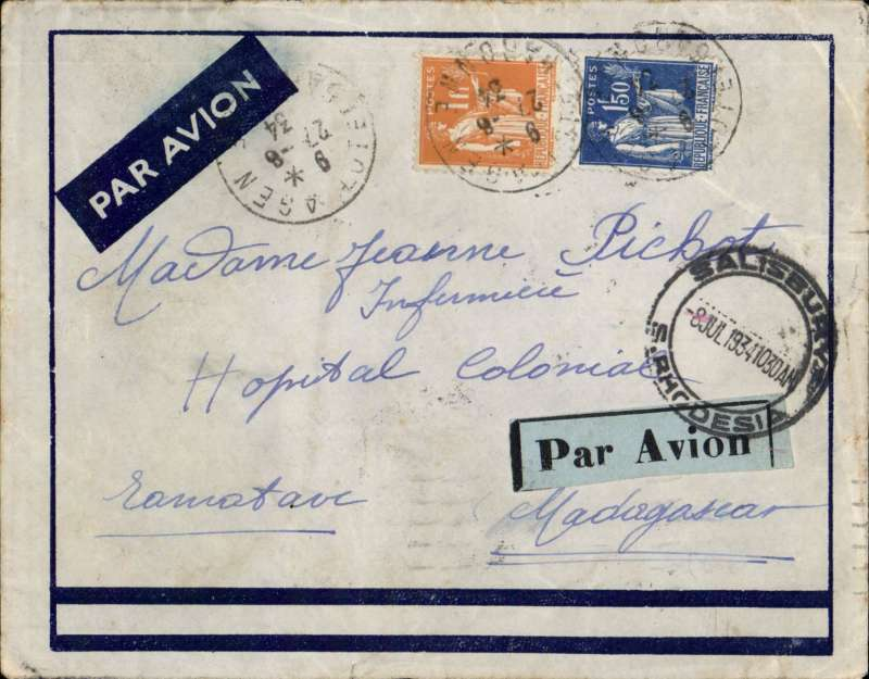 (Scarce and Unusual Routings) France to Madagascar, AGEN to TAMATAVE, by the Imperial Airways Africa southbound service AS174 which left Paris 27/7 and was carried by train to Brindisi 29/7 via Marseille Gare Avion bs 27/6 then flown by Hadrian and then Amalthea to Broken Hill bs 4/7 where it was offloaded. But the local link to Madagascar had not started, so it was carried by surface to Salisbury bs 8/78 July and on to Durban bs 14/7. Finally on by sea, arriving Tamatave bs 26/7. Imprint etiquette cover, also green blue/black etiquette tied by Salisbury cds, FRANKED F2.50 for 50c Colonial and a F2 air fee. (by air to Egypt only!). An exceptionally scarce item with superb routing marks. An absolute gem, ex the Ted Proud collection.