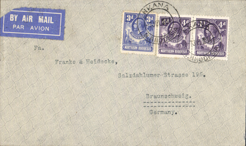 (Northern Rhodesia) N Rhodesia to Germany, NKANA (KITWE) to BRAUNSCHWEIG via Broken Hill 8 July (b/s). By Imperial Airways Africa northbound service AN175 which left 11 July on Atlanta, then by Hannibal to Cairo 16/7 and finally to Athens by Scipio, arriving 17 July where it transferred to Lufthansa and was delivered to Braunschweig bs 19/7. Etiquette cover franked 11d for air rate with good route markings.. Uncommon origin/destination combo.