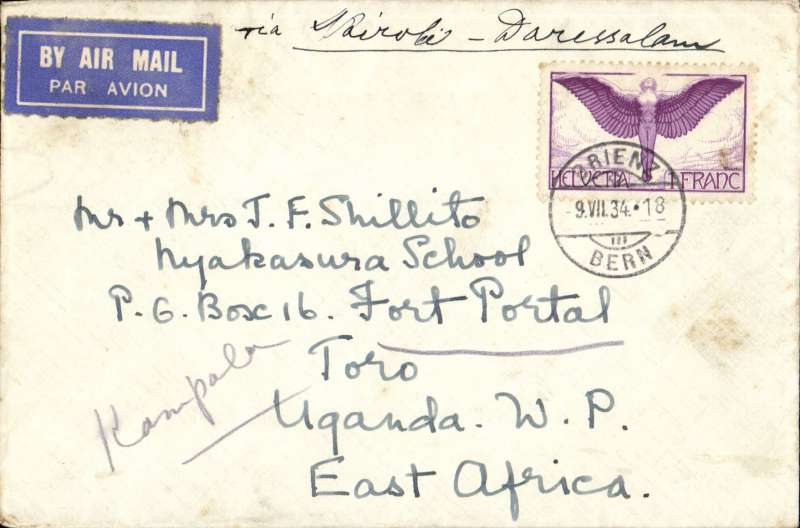 (Scarce and Unusual Routings) Airmail Switzerland to Uganda. ORIENZ TO FORT PORTAL (311 kilometres by road from Kampala), carried by Imperial Airways Africa southbound service AS176 which left Brindisi 13 July on Satyrus, arrived Kampala 16 July (b/s) on Horsa and was delivered at Port Portal on 19 July (b/s). Franked Fr1.00. Uncommon origin and destination and  good routing. Non invasive closed flap tear verso, does not detract, see scan. Ex Ted Proud collection.