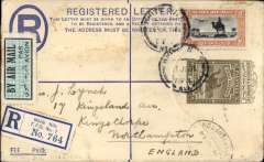 (Sudan) Registered (label) WHITE NILE T.P.O. TO UK via Malakal 14 July (b/s). By Imperial Airways Africa northbound service 175 which left 15 July, arrived London 19 July and delivered 21 July (arrival ds). Franked  2 1/2P (registered letter envelope with 2 1/2P reg and postage fee imprint stamp on flap) plus 2P air mail stamp - total RATING of 4 1/2p for 3p airmail  fee and 1 ½ p for registration. Uncommon origin, scarce reg. stamp, and good routing. Ex Ted Proud collection..