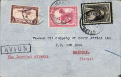 (Belgian Congo) CONGO-KENYA, Elisabethville to Nairobi, via Broken Hill 18/7, plain cover, black framed 'Avion' hs. To Broken Hill by Aero Club de Katanga, and by Imperial Airways AN 176 on 'Artemis' to Nairobi., FRANKED F5.50 for F2.50 UPU rate plus F3.00 air fee.  Nice routing. Some rough opening verso, see scan.