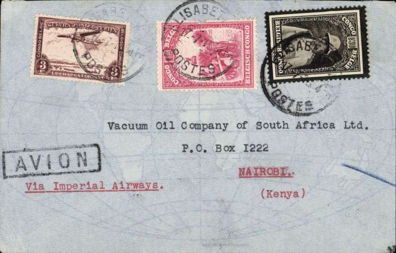 (Scarce and Unusual Routing) CONGO-KENYA, Elisabethville to Nairobi, via Broken Hill 18/7, plain cover, black framed 'Avion' hs. To Broken Hill by AERO CLUB DE KATANGA and by Imperial Airways AN 176 on 'Artemis' to Nairobi., FRANKED F5.50 for F2.50 UPU rate plus F3.00 air fee.  Nice routing. Some rough opening verso, otherwise fine, see scan.