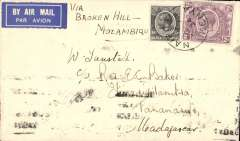 (Kenya) Scarce First Flight, Kenya to Madagascar, NAIROBI to TANANARIVE, bs 4/8. Posted Nairobi 30/7 for carriage on the  IMPERIAL AIRWAYS AFRICA SOUTHBOUND SERVICE AS178,  departed 31/78 on  'Helena' and arrived Broken Hill 1/8 where it was transferred to the REGIE MALGACHE FIRST FLIGHT TO TANANARIVE flown by Lefevre and Assolant, arriving 4/8. Plain TUNSTALL cover, FRANKED S2.10 for the new air rate . Super item, ex the Ted Proud collection.