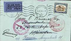 (South Africa) South Africa to Germany, PRETORIA to MUNICH,  by Imperial Airways Africa northbound service AN178 which left Jo'burg 1/8 on 'Amalthea', departed Khartoum 5/8 on Helena, Cairo 7/8 on Scipio, arriving Brindisi 7/8 on Sylvanus where transferred to DLH Athens-Berlin service arriving Berlin backstamped 8/8 and Munich 9/8, fine strikes red Berlin and Munich airmail receivers, cover RATED 1/- for air rate. Nice item, all the data, ex Proud.