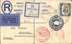 (South Afica) South Africa to Germany, CAPE TOWN to BERLIN, 22/8 arrival cds, by Imperial Airways Africa northbound service AN180 which left Jo'burg 15/8 on 'Amalthea', departed Khartoum 19/8 on 'Hannibal', Cairo 21/8 on 'Scipio', arriving Brindisi 21/8  where transferred to DLH Athens-Berlin service arriving Berlin backstamped 22/8, fine strike red Berlin C2 airmail receiver, registered 4d PSC with additiona 1/- for 4d reg and 1/- air rate. Nice item, ex Proud.