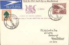 (South Africa) AFRICA TO NEW ZEALAND, Cape Town to Ashhurst, FIRST ACCEPTANCE of African 'all the way' airmail for New Zealand for carriage on the IMPERIAL AIRWAYS AFRICAN NORTHBOUND service AN 196 to Cairo 11/12, to connect with the first extension of the IMPERIAL AIRWAYS EASTBOUND service IE 298 from Singapore to Brisbane. Special violet/cream 'Library of Parliament/Cape Town PC correctly FRANKED 10d, with  a message of Christmas greetings HANDWRITTEN  BY L.G.WYNDHAM. An exceptional item in very fine condition, ex the Ted Proud archives.
