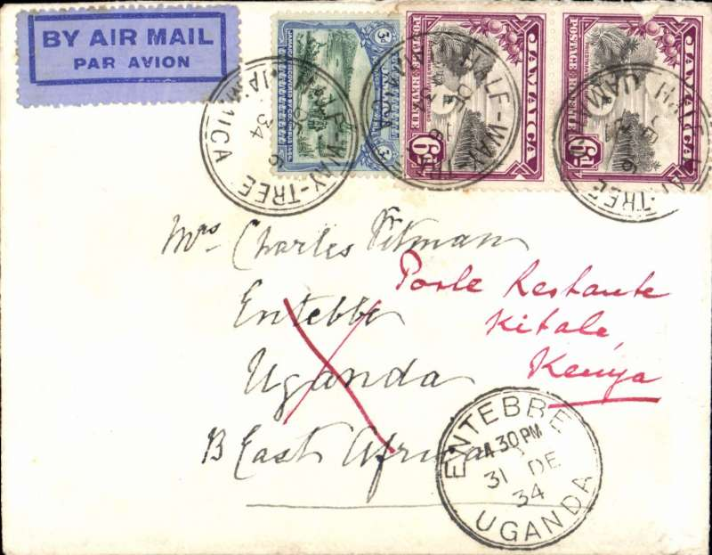 (Scarce and Unusual Routings) Airmail JAMAICA TO UGANDA, HALF WAY TO ENTEBBE, by air to New York, then by sea to UK, then by IMPERIAL AIRWAYS AFRICA SOUTHBOUND SERVICE AS176 which left Croydon 26/12 on Syrinx, departed Khartoum 30/12 on Hengist arriving Entebbe 31/12 arrival ds on front. Redirected by road to Kitale 3/1/35 via Kampala 1/1. Airmail etiquette cover franked 1/3d. First southbound African service by Hengist after conversion from European to Eastern standard, ref Wingent p65. Uncommon origin/destination, see scan, ex Proud..