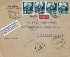 (Romania) Romania to Africa, BACAU to JOBURG. By road to Bucharest bs Avion 24/1, then by the weekly joint DLH/LOT service to Athens bs 28/1. Transferred to Imperial Airways Durban southbound flying boat service DS61 (Centurion) which arrived in Durban 3/2 two days late having been DELAYED in Cairo by bad weather. Printed company cover, blue/white 'Prin Avion' etiquette, red/white 'Expres' label, and Greek currency mark, franked 74 lei.