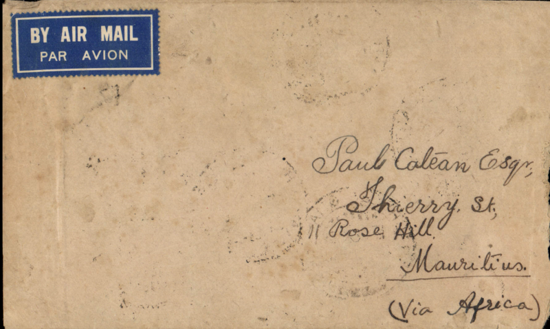 (Scarce and Unusual Routing) India, KARACHI TO MAURITIUS,  departed Karachi 19/2 on the Imperial Airways Eastern Service flight #IW 627 and carried by HANNIBAL TO ALEXANDRIA/CAIRO ARRIVING 22/2. Transferred to Imperial Airways Africa Service flight #DS 69 on 26/2 and carried to Khartoum on Corsair (FLYING BOAT), to Kisumu on Calpurnia (FLYING BOAT), and to Durban on Castor (FLYING BOAT) arriving 1/3. Then carried by sea to Mauritius b/s Rose Hill/ 10 MR 38/Mauritius cds. The only ship arriving that day was the MV 'HOUTMAN' OF KONINKLIJKE PAKETVAART-MAATSCHAPPIJ (KPM), a Dutch shipping company (1888?1966) The line's routes included the Indian Ocean ports of Rיunion and Mauritius and Mahי. Plain cover franked 9 1/2 anna, non invasive rh edge trim, see scan. A truly scarce item with great routing. Ex Proud.