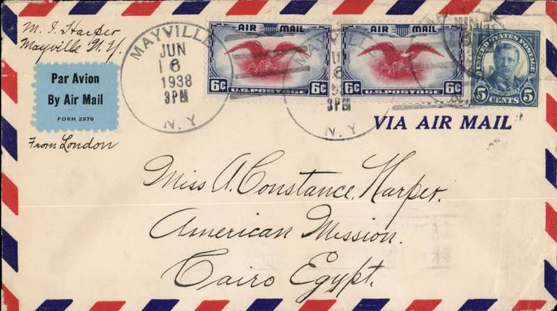 (Scarce and Unusual Routings) USA to Egypt, NEW YORK to CAIRO. By sea to UK, then by Imperial Airways Durban southbound flying boat service DS101 ?Corsair? leaving Southampton 15/6, arriving Alexandria 16/6, delivered Cairo 17/6 (ms). Airmail cover, Par Avion etiquette ms 'From London', franked 17cts for 5c UPU and double air fee of 12c.