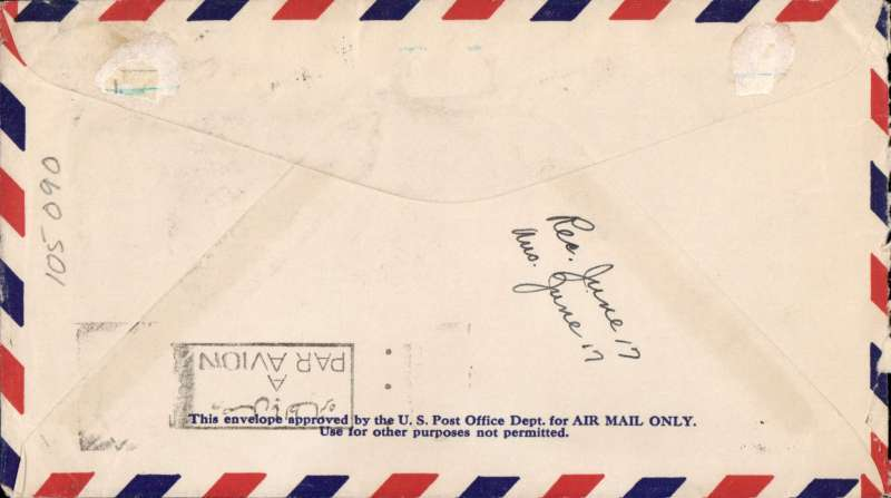 (Scarce and Unusual Routing) USA to Egypt, NEW YORK to CAIRO. By sea to UK, then by Imperial Airways Durban southbound flying boat service DS101 ?Corsair? leaving Southampton 15/6, arriving Alexandria 16/6, delivered Cairo 17/6 (ms). Airmail cover, Par Avion etiquette ms 'From London', franked 17cts for 5c UPU and double air fee of 12c.