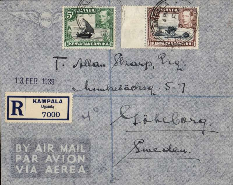 (Scarce and Unusual Routings) Uganda to Sweden, KAMPALA to GOTHENBURG. By Imperial Airways Durban northbound all-flying boat service DN168 Canopus which left  Port Bell 7/2, arriving Brindisi Transito bs 9/2, and on by rail via Bologna Tranero TPO bs 10/2 to Gothenburg 13/2. (private ds). Registered (label) cover franked 1.05 for 30c registration and 75 air rate. Great routing.