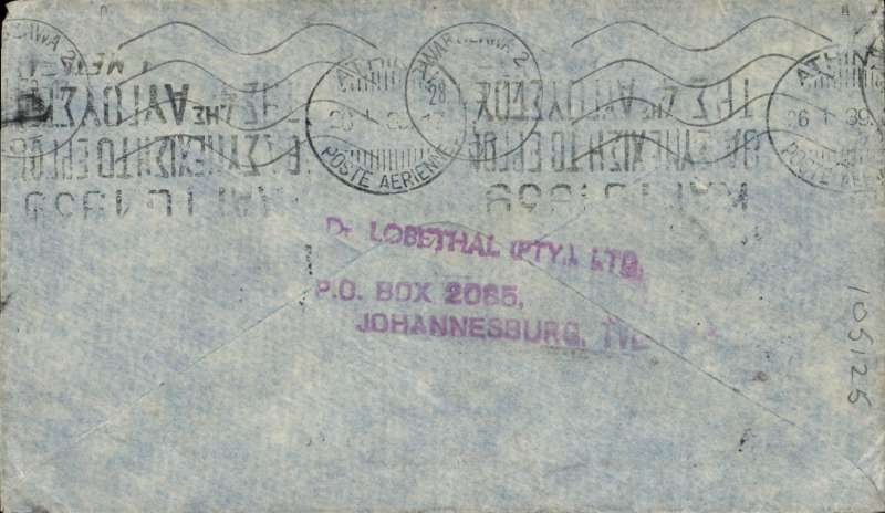 (Scarce and Unusual Routings) South Africa to Poland, JOBURG to WARSAW. By Imperial Airways Durban northbound all- flying boat service DN164 which left Durban 22/1 (Caledonia) and arrived Athens bs 26/1 where transferred to Polish airline  Polskie Linie Lotnicze LOT S.A. arriving Warsaw bs 28/1 from Athens Arrived 28 January (b/s). Plain cover, Greek currency mark, franked 1/- per ½ oz. South Africa to Europe air mail rate. Good routing, nice item.