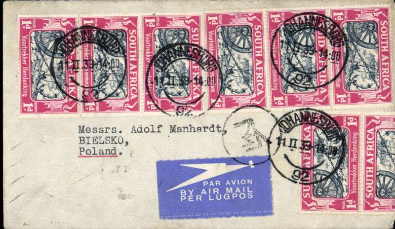 (Scarce and Unusual Routings) South Africa to Poland, JOBURG to WARSAW. By Imperial Airways Durban northbound flying boat service DN170 which left Durban 12/2 (Caledonia) arriving Athens bs 16/2 where it transferred to Polish airline  Polskie Linie Lotnicze LOT S.A. arriving Warsaw bs 18/2  Plain cover, Greek currency mark, franked 1/- per ½ oz. South Africa to Europe air mail rate. Nice item, good routing.