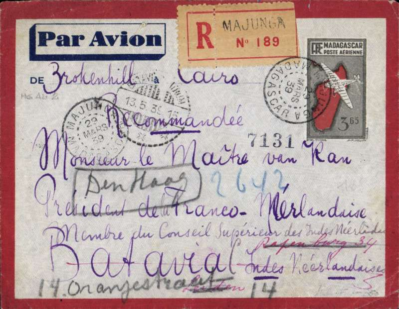 (Scarce and Unusual Routings) Madagascar to Netherlands East Indies, MAJUNGA to BATAVIA. Flown 29/3 cds on Madagascar weekly flight by service Service de l'Aeronautique Seville AC to Tananarive bs 4/4, then carried by Air Afrique to Elisabethville 9/4, arriving Paris 15/4. Transferred at Amsterdam to KLM ?Wielewaal? which left 3/5 and arrived Batavia 7/5 (8/5 b/s). Readdressed to Netherlands 13 May and flown by back ?Buizerd? which left  Batavia 16/5 and arrived  Amsterdam 21/5, delivered Leiden bs 22/5. Attractive grey/red bordered Registered (label) imprint etiquette cover franked 21.65F. Super origin/destination three airline cover with great routing.