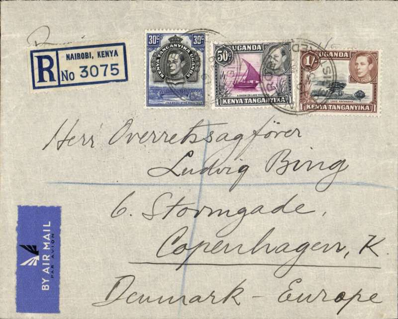 (Scarce and Unusual Routings) East Africa to Denmark, NAIROBI to COPENHAGEN, carried from Nairobi to Kisumu by Wilson Airways, then by Imperial Airways Durban northbound all-flying boat service DN197 (Cambria) which left Kisumu 20/5 and arrived Brindisi 22/5, then on by train to Copenhagen bs 25/5 via road/ferry 'Kobenhavn-Warnemunde TPO bs 25/5. Registered (label) cover franked 1S 80c for DOUBLE RATE 2x75c/1/2oz to Europe + 30c reg. Great routing.