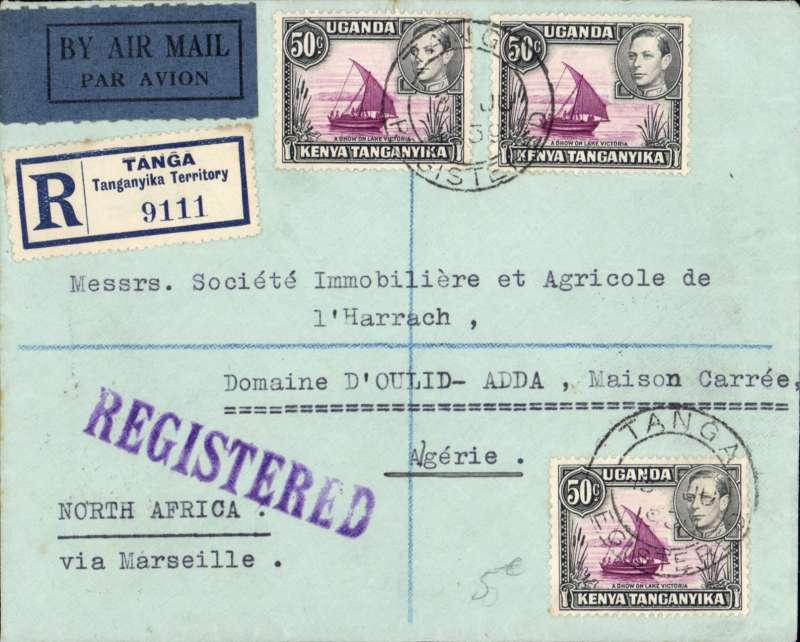 (Scarce and Unusual Routings) Tanganyika to Algeria, TANGA to MAISON CARREE. 750 miles by road/rail to Kisumu, transferred to Imperial Airways Imperial Airways Durban northbound all-flying boat service DN205 which departed (Circe) bs 16/5 arriving Marseilles 19/6. Transferred to Air France and carried to Algeria bs 21/6, delivered Maison Carre bs 22/6.  A neatly presented registered (label) cover, black/dark blue etiquette, typed 'North Africa/via Marseille', FRANKED 150cts for 30cts registration plus two 60cts air rates. Will look nice in the exhibit, see scan.