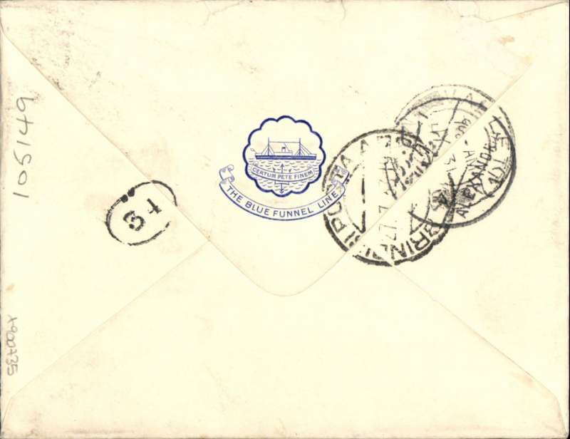 (Scarce and Unusual Routing) Egypt to Malta, ALEXANDRIA TO VALLETA, The cover is a 'Blue Funnel Line' envelope bearing a 'Port Said/26 July 33) depart cds indicating transfer from cruise ship to Imperial Airways Africa Service flight #DN216. Carried on  Caledonia, from Alexandria on 27/7 arriving Brindisi 27/7. Then on by sea to Malta, arriving Valetta b/s 31/3, bears postman?s chop 34, L.R.D. Franked 28 mils for 15 mils Imperial, 5mils Europe, 8mils excess. Interesting and unusual. Ex Proud.