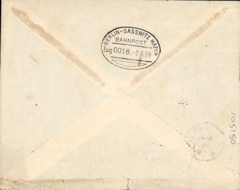 (Scarce and Unusual Routing) Airmail Sweden to South Africa, LINKOPING to JOHANNESBURG. Malmo to Berlin via SASSNITZ-BERLIN T.P.O. (b/s 2/8), then DLH to Athens 6/8., the on the Imperial Airways Southampton- Durban Service flight # DS220 arriving Durban 9/8. Plain cover franked F1.30. Closed top edge nick, see scan