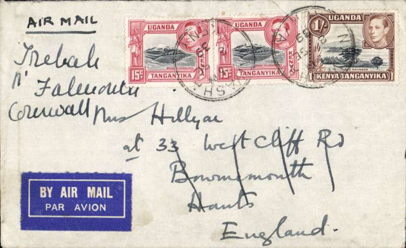 (Scarce and Unusual Routing) Uncensored airmail cover Kenya to GB, NAIVASHA (250 miles from Nairobi) TO BOURNEMOUTH. Carried on NAIROBI-KISUMU SHUTTLE BY WILSON AIRWAYS, transferred to Imperial Airways Durban-Southampton Service flight  DN229 on flying boat Canopus which left KIsumu 10/9 arriving Alex 12/9, then on flying boat Camilla arriving Poole 15/9, and delivered Bournemouth 18/9 bs. Plain cover franked 1/30c for Empire rate introduced 3 September. An item of aerophilatelic and historical significance - FIRST DN SERVICE TO NEW WARTIME SCHEDULE; FIRST SERVICE TO CARRY S. AFRICAN MAIL AT 1/3d WARTIME RATE; DELAYED 1 DAY AT MALAKAL WITH WIRELESS TROUBLE.       Southampton 15 September being delayed one day by a forced landing at Malakal due to weather. Readdressed 18 September (b/s). Franked 1/30c for Empire rate introduced 3 September. to UK. By DN229 which left Mombasa 10 September and arrived Southampton 15 September being delayed one day by a forced landing at Malakal due to weather. Readdressed 18 September (b/s). Franked 1/30c for Empire rate introduced 3 September.