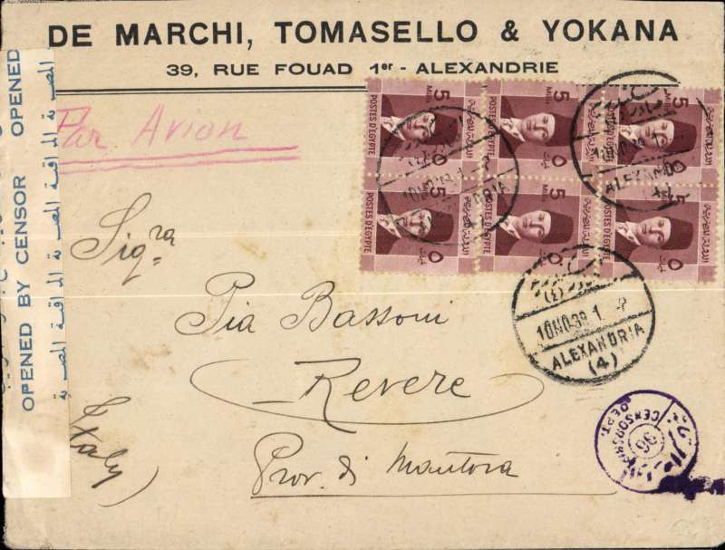 (Interruptions and Accidents) DELAYED/INTERRUPTED WWII censored airmail,  Egypt to Italy, ALEXANDRIA to REVERE.  By Imperial Airways Africa Kisumu North Service KN124 which left Alex 12/11on FLYING BOAT 'CERES' and arrived Marseilles 16/11, then by train to Paris bs 18/11. CERES FIRST DEPARTED. ALEX. 06.15 ON 11TH BUT HAD TO RETURN AT 10.15 DUE TO BAD WEATHER. (Wingent pers comm). Printed commercial cover Egyptian censor tape and mark, franked 30 mils for 20 mils UPU plus 10 mils air fee. The KISUMU SERVICE was set up to carry mail under the E.A.M.S. from East Africa and the Sudan, see Wingent p125.