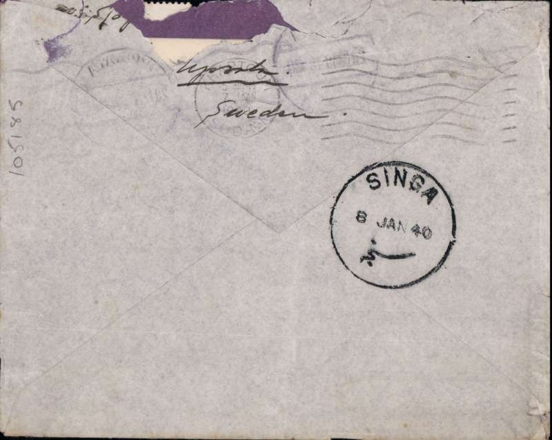 (Sweden) DELAYED airmail Sweden to Sudan, UPSALLA TO SINGA (350 km from Khartoum). By train to Athens then on Imperial Airways Africa Kisumu South Service KS132 which left Southampton 3/1/40 1940 arriving Khartoum 7 /1 (b/s) and on by surface to Singa bs 8/1. FLOWN ALL THE WAY ON THE THE SHORT EMPIRE FLYING BOAT 'CLYDE', The flight was DELAYED at Bicarosse from 3 to 5 January by bad weather. Franked 50ore. Uncommon origin for IAW mail. Letter inside. Rough opening flap verso, see scan.      The service was 9 days late departing from Durban likely NO AIRCRAFT AVAILABLE - ALL WEATHERBOUMD IN UK AND EUROPE ( Wingent, pers comm.). Nice item - scarce and interesting..