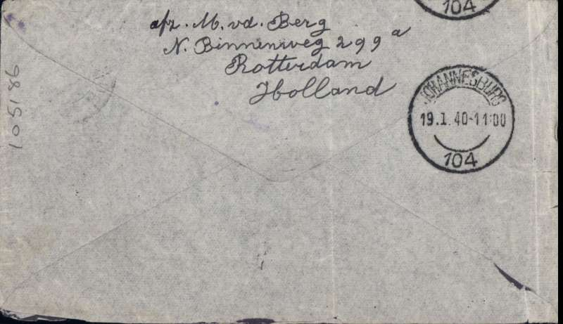 (Netherlands ) KLM special WWII uncensored Amsterdam-Naples-Johannesburg flight, Roterdam to Johannesburg, bs 19/1, by train to Naples, hence 15/1 depart, flown by DC3 REIGER, Reg PH-ALR, special cover franked 62 1/2c. Uncommon.
