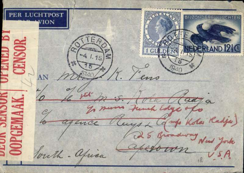 (Netherlands ) DELAYS, censored WWII airmail Netherlands to South Africa by Imperial Airways Southampton-Durban Service flight # DS246 which left Poole 8/1 and arrived 6 days late at Durban 18/1 due to weather delays at Poole, Biscarosse and Bracciano. Flown all the way by flying boat CORDELIA. Readdressed to USA. Imprint etiquette airmail cover sealed South Africa censor tape, franked G1.12 ½ c for 12 ½ UPU and double air fee?