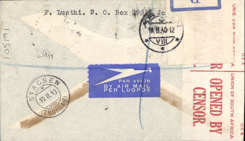 (Interruptions and Accidents) DAELAYED FLIGHT, censored early WWII registered (label) cover sealed SA censor tape, South Africa to Switzerland, JOHANNESBURG to CT. THURGAU, by Imperial Airways Durban-Southampton Service flight # DN250 leaving Durban 12/2 to Alexandria 16/2 by Caledonia, and by Clyde to Brindisi 17/2, on by train via Chiasso to Thurgau, bs 19/2. Franked 1/3 for air rate, but ?POSTED OUT OF COURSE?(handstamp) so taxed 65cts. The service was 9 days late departing from Durban likely NO AIRCRAFT AVAILABLE - ALL WEATHERBOUMD IN UK AND EUROPE ( Wingent, pers comm.). Nice item - scarce and interesting..