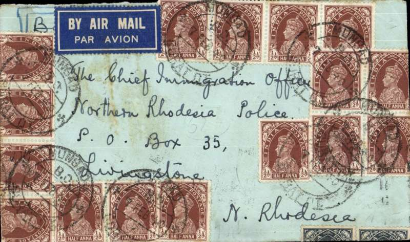 (Scarce and Unusual Routing) India to Northern Rhodesia, MUNSTAD to LIVINGSTONE, N. RHODESIA, by Imperial Airways Eastern Service flight # SW212 which left Karachi 11/2 on FLYING BOAT 'COOGEE' arriving Alexandra 12/2, transferred to Imperial Airways Africa Service flight # DS251 which left 16/2 on FLYING BOAT 'COORANG' arriving Beira 19/2, transferred to Southern Rhodesia Air Services arriving Lusaka 21/2, then by train to Livingstone, bs 22/2. Franked 14As for the Empire Rate. SUPERB ROUTING.