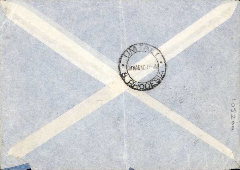 """(Interruptions and Accidents) SCARCE TRIPLE INTERRUPTED uncensored WWII airmail, Italy To Southern Rhodesia, MILAN TO UMTALI, bs 18/3. Likely surface from Milan to Rome (290 miles), then on flying boat 'Castor' by BOAC POOLE-KISUMU service KS141 departing Rome 7/3 to Kisumu 12/3, then transferred to BOAC Durban- South service DS255, but remaining on board 'Castor'  for carriage to Mozambique, arriving 16/3, delivered Umtali bs 18/3. Imprint airmail etiquette cover, black 'Par Avion' bilingual hs, large 'P.B.C' hs, Franked L2.25 for air rate. Flight KS141 experienced three interruptions - one day at Biscarosse due to bad weather, one day at Bracciano because the captain was unwell, and one day at Kisumu because flight was """"waiting special passengers at Air Ministry request"""". However DS255 made up one day during its flight to Mozambique. Ex Proud."""