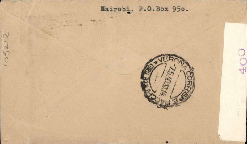 (Flying Boats) Censored WWII airmail KENYA TO ITALY, Nairobi to Verona, bs 7/5. Carried by the BOAC Poole-Durban service #DN266 from Mombasa 2/5 to Alexandria 4/5/ on the Short S23 flying boat 'Circe and on to Rome 6/5' on the Short S23 flying boat 'Cooee'. Then on by surface to Verona bs 7/5. Airmail etiquette label cover, sealed Nairobi B&W censor tape, franked 2/-. The WWII flight details needed to work out the likely route of a specific cover can be difficult to find often requiring detailed research. For flight lists of the major wartime routes see Bridging the Continents in Wartime, Aitink and Hoverkamp, pub 2005.
