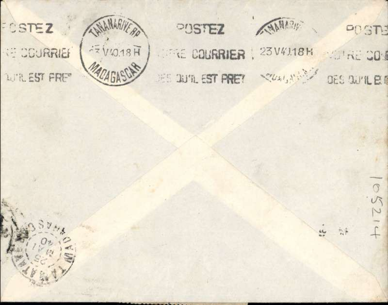 (Morocco) Early uncensored UNDERPAIID WWII Military Airmail MOROCCO TO MADAGASCAR, Casablanca to Tamative, bs 25/5. Carried by Air France to Marseilles, the by AIR AFRIQUE to Tananarive, delivered Tamative 25/5. Imprint etiquette airmail cover, ms 'F.M.' (special military airmail rate). Franked F 4.26 for F4.75 air fee (50c deficit), so Madagascar F1 postage due applied. Interesting.