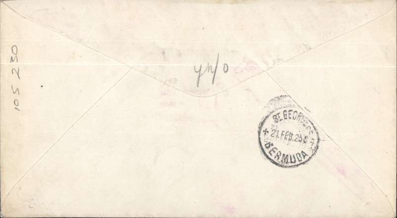"(Airship) First mail flight Airship USS ""Los Angeles, Lakehurst to Bermuda, magenta air mail ""Air Mail Service Feb 20 New York"" cachet,"" typed endorsement ""Air Mail by Airship Los Angeles from Lakehurst NJ"" hs,  b/s St George's 21/2, Roessler "" Wrestler"" cover,"