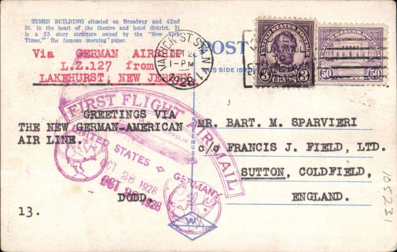 """(Airship) Return flight """"Graf Zeppelin"""" USA to Germany, colour PPC franked 53c, violet Zeppelin confirmation cachet, b/s Fr'schafen, remnant 2cmx2cm label verso, see scan."""