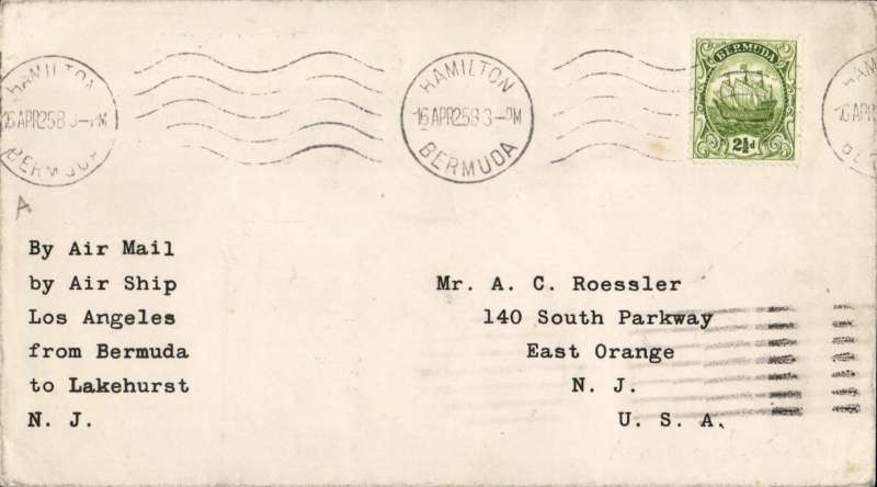 """(Airship) Cover flown Hamilton to New York, on the Return of  the Second Bermuda flight of Airship USS """"Los Angeles"""",  Aug 24 arrival ds, typed endorsement """"By Air Mail/by Airship 'Los Angeles'/from Bermuda to Lakehurst, NJ""""."""