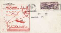 """(Ship to Shore) First ship to shore by Dirigible, """"Goodyear"""" transfer from SS Los Angeles to PO San Pedro, large orange cachet on front, large green cachet verso."""