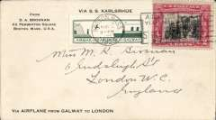 (United States) Hydroplane from SS Karlsruhe at sea to speed delivery of mail, Brosnan corner cover franked 2c, canc Boston cds tying green/white vignette of SS Karlsruhe in flight towards white cliffs of Dover and printed inscription  'Via Airplane from Galway to London'.