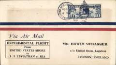 """(Ship to Shore) Schildauer's attempted ship to shore flight from Staten Island to SS Leviathan, souvenir printed cachet cover, franked 10c canc NY duplex, typed 'Via Air Mail/to SS Leviathan', verso black """"Air Mail Flight Failed To/SS Leviathan"""" cachet."""